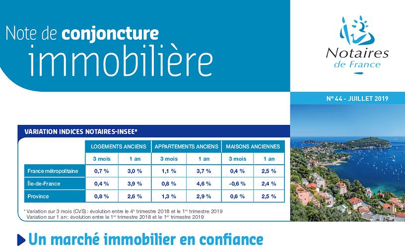 Note de conjoncture immobilière : un marché immobilier en confiance 0